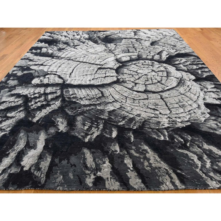 Modern Tree Bark Wool and Silk with Abstract Design Black and Grey Hand Knotted