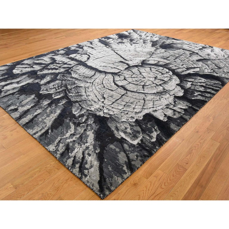 Afghan Tree Bark Wool and Silk with Abstract Design Black and Grey Hand Knotted