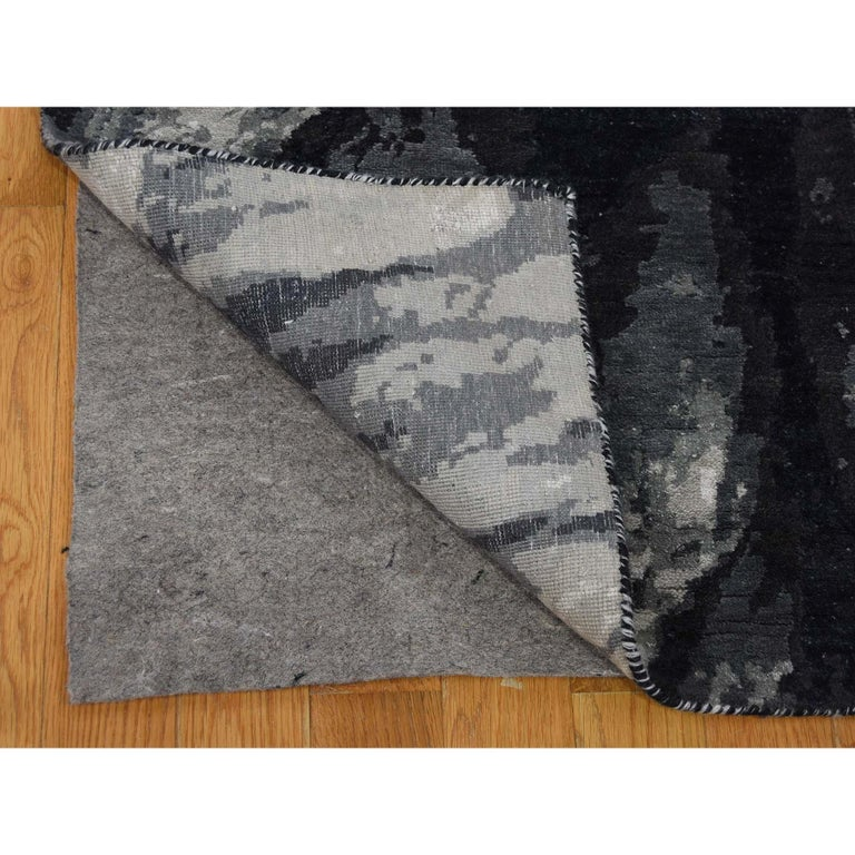 Hand-Knotted Tree Bark Wool and Silk with Abstract Design Black and Grey Hand Knotted