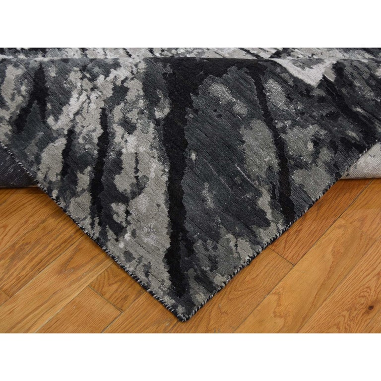 Contemporary Tree Bark Wool and Silk with Abstract Design Black and Grey Hand Knotted
