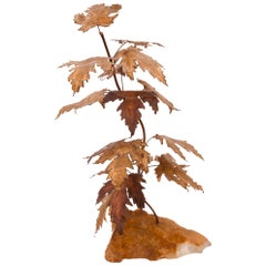 Tree Brass Sculpture on Quartz Base Maple Leaves in the Style of Curtis Jere
