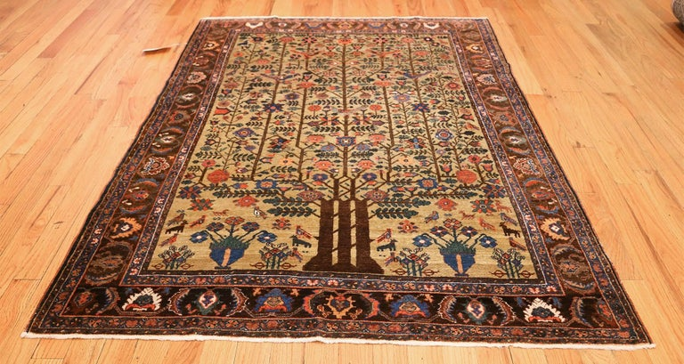 Tree of Life Antique Tabriz Persian Rug For Sale 1