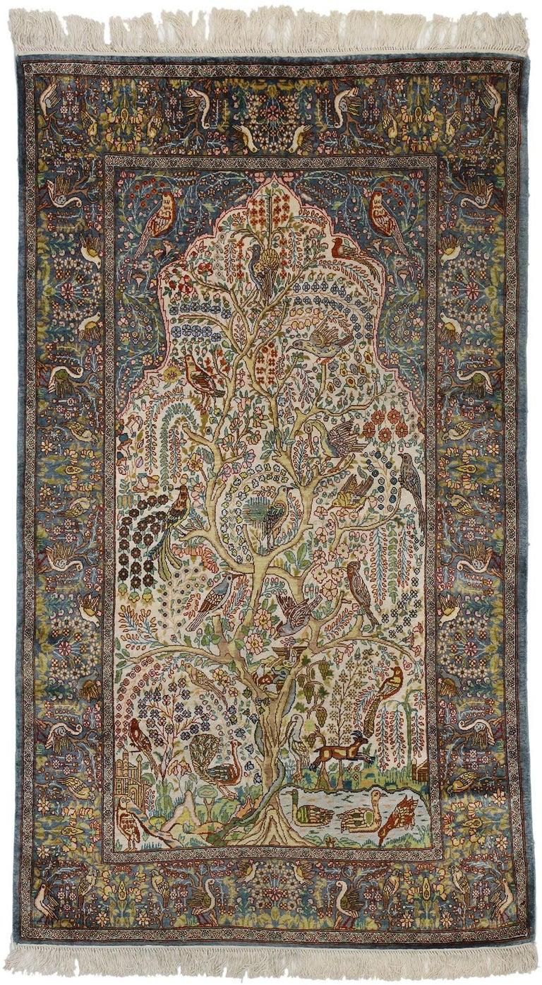 Tree Of Life Design Vintage Hereke Turkish Prayer Rug