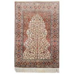 Tree of Life Hereke Silk Rugs, Oriental Rug, Handmade Carpet Rugs for Sale
