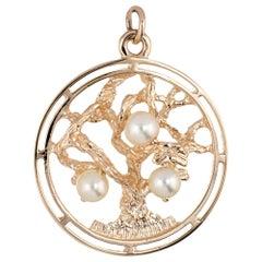 Tree of Life Pearl Pendant Charm Vintage 14 Karat Yellow Gold Fine Jewelry Round