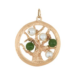 Tree of Life Pendant Charm Vintage 14 Karat Gold Estate Fine Jewelry Round