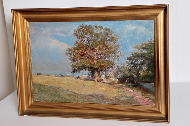 Framed Landscape Painting by Danish Landscape Painter Viggo Langer (1860-1942) For Sale 1