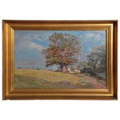Framed Landscape Painting by Danish Landscape Painter Viggo Langer (1860-1942)