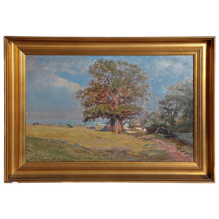 Framed Landscape Painting by Danish Landscape Painter Viggo Langer (1860-1942) For Sale