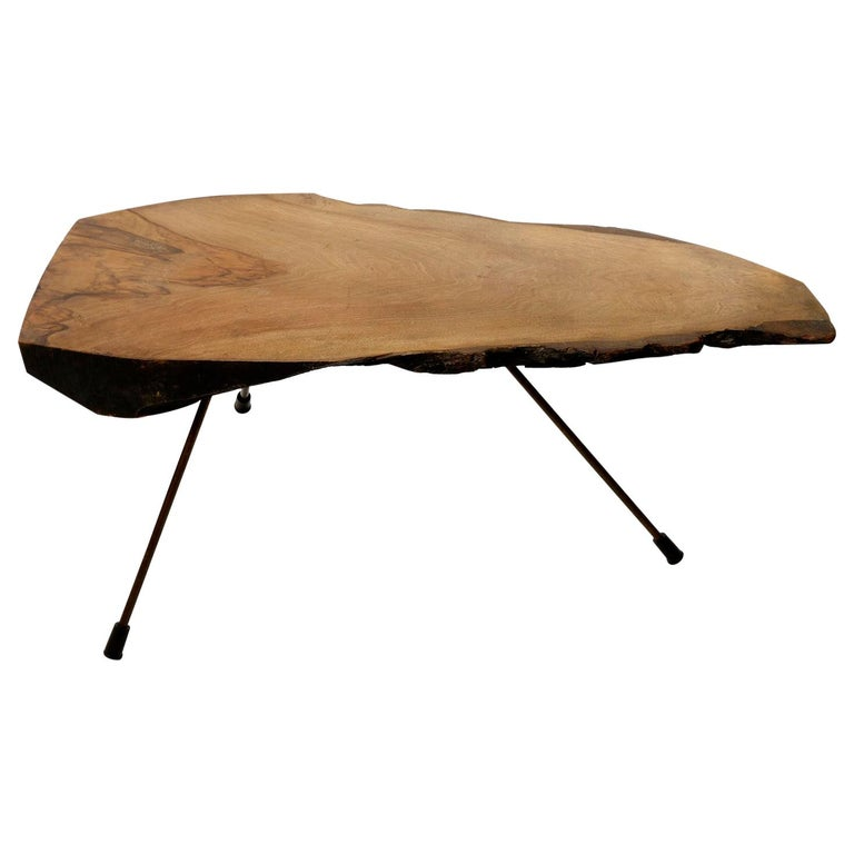Tree Trunk Coffee Table, Carl Auböck, Walnut Patinated Brass, 1950s For Sale