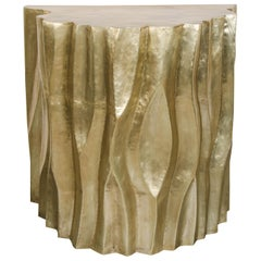 Tree Trunk Half Round Table, Brass by Robert Kuo, Hand Repousse, Limited Edition