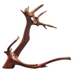 Tree Trunk Sculpture Dragon Shaped 1960 Back
