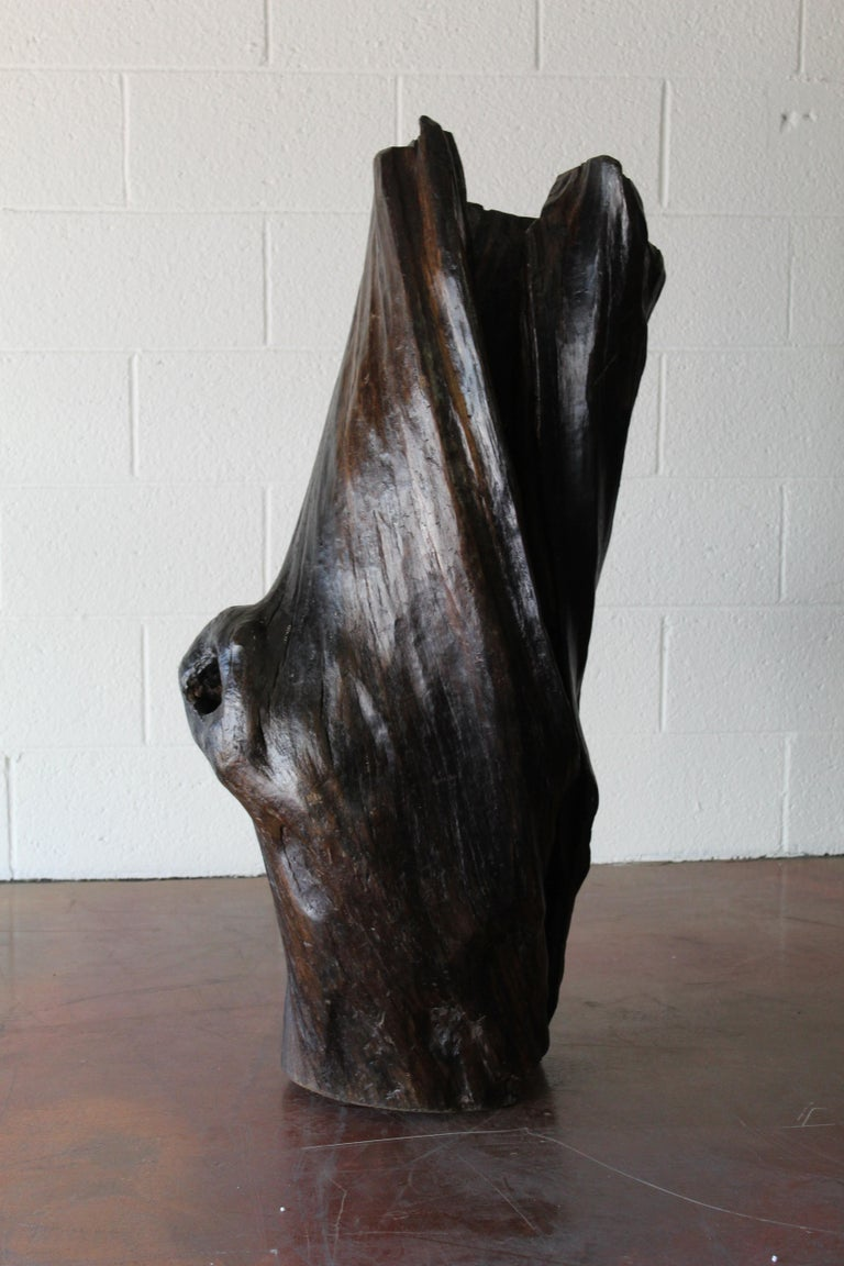 A lovely organic form - a vintage tree trunk sculpture. hallow.