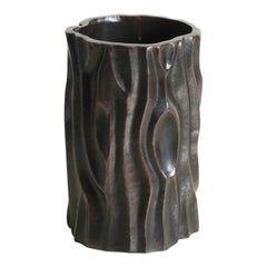 Tree Trunk Vase in Black Copper by Robert Kuo, Hand Repousse, Limited Edition