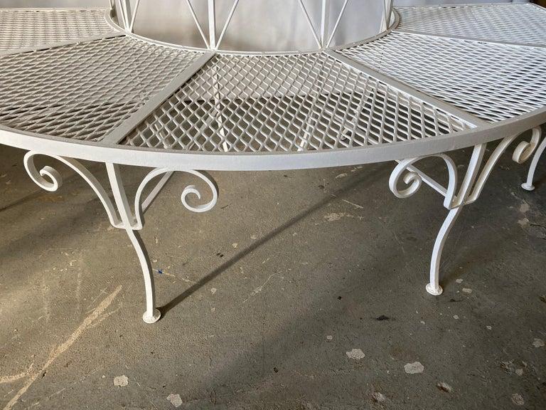 Mid-Century Modern Tree Wrap Iron Garden Bench For Sale
