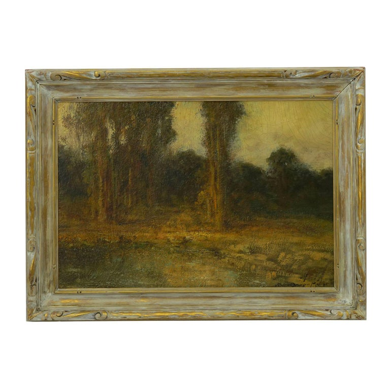 A fine and rare landscape painting by early California artist Ralph Davison Miller (CA, 1858-1945). With a chaotic heavy impasto in his brush stroke, Miller brings to life a glade with tall trees before a pool of water. The scene is enlivened with