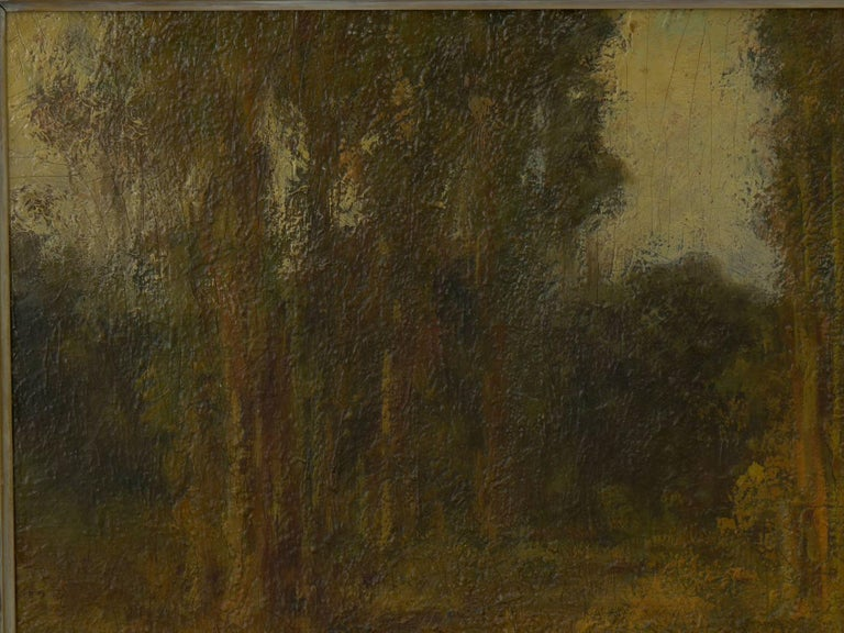 """19th Century """"Trees by a Pool"""" Oil Landscape Painting by Ralph Davison Miller For Sale"""