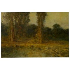"""Trees by a Pool"" Oil Landscape Painting by Ralph Davison Miller"