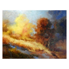 """""""Trees on Hillside"""" Landscape Oil Painting, Expressionism"""
