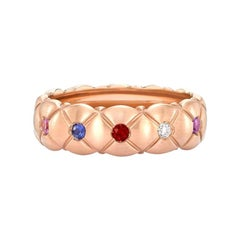 Fabergé Treillage 18k Brushed Gold Diamond & Multicolour Gemstone Quilted Ring