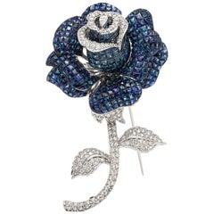 Trembling 18 Karat White Gold Flower Sapphire and Diamond Pin