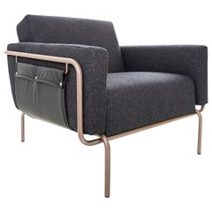 Trend Armchair, Metal Frame with Black Fabric and Black Leather