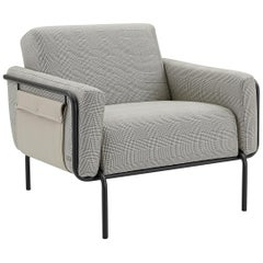 Trend Armchair, Metal Frame with Checkered Color Fabric and Side in Leather