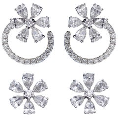 Trendy 18 Karat White Gold and Diamond Earring