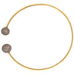 Trendy Grey Diamond Ball Choker Necklace in 18k Yellow Gold