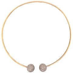 Trendy White Diamond Ball Choker Necklace in 18k Yellow Gold