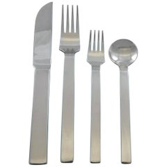Trenton by Wallace Stainless Steel Flatware Set Service 24 Pieces Estate Modern
