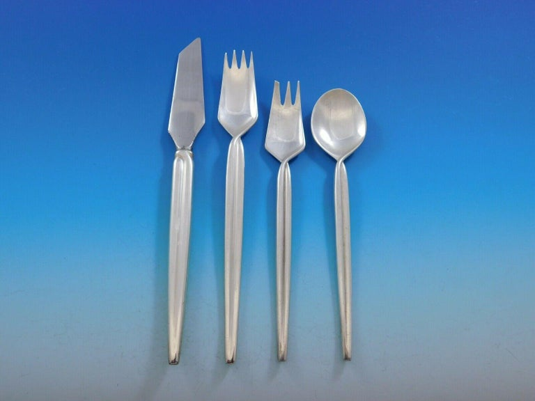 Mexican Trenza by Celsa Mexico Sterling Silver Flatware Set Service Midcentury Mod 76pc For Sale