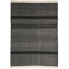 Tres Black Hand-Loomed Wool and Felt Texture Rug by Nani Marquina in Stock