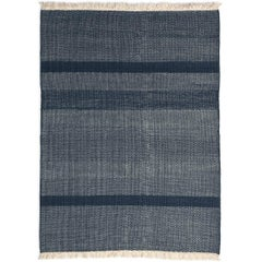 Tres Blue Hand-Loomed Wool and Felt Texture Rug by Nani Marquina in Stock