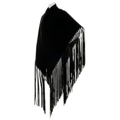 Tres Chic Hermes Black Cashmere & Wool Shawl Trimmed with Leather Tassel Fringe