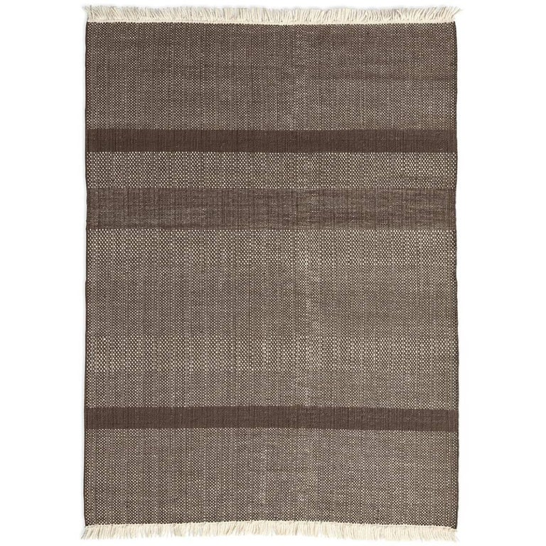 Tres Chocolate Hand-Loomed Wool and Felt Texture Rug by Nani Marquina in Stock