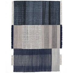 Tres Collection Large Blue Hand-Loomed Wool & Felt Rug by Nani Marquina