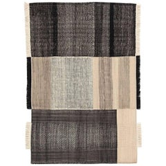 Tres Collection Medium Black Hand-Loomed Wool and Felt Rug by Nani Marquina