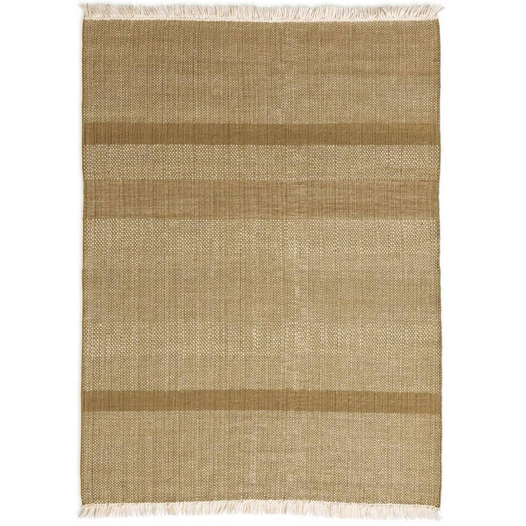 Tres Ochre Hand-Loomed Wool and Felt Texture Rug by Nani Marquina For Sale