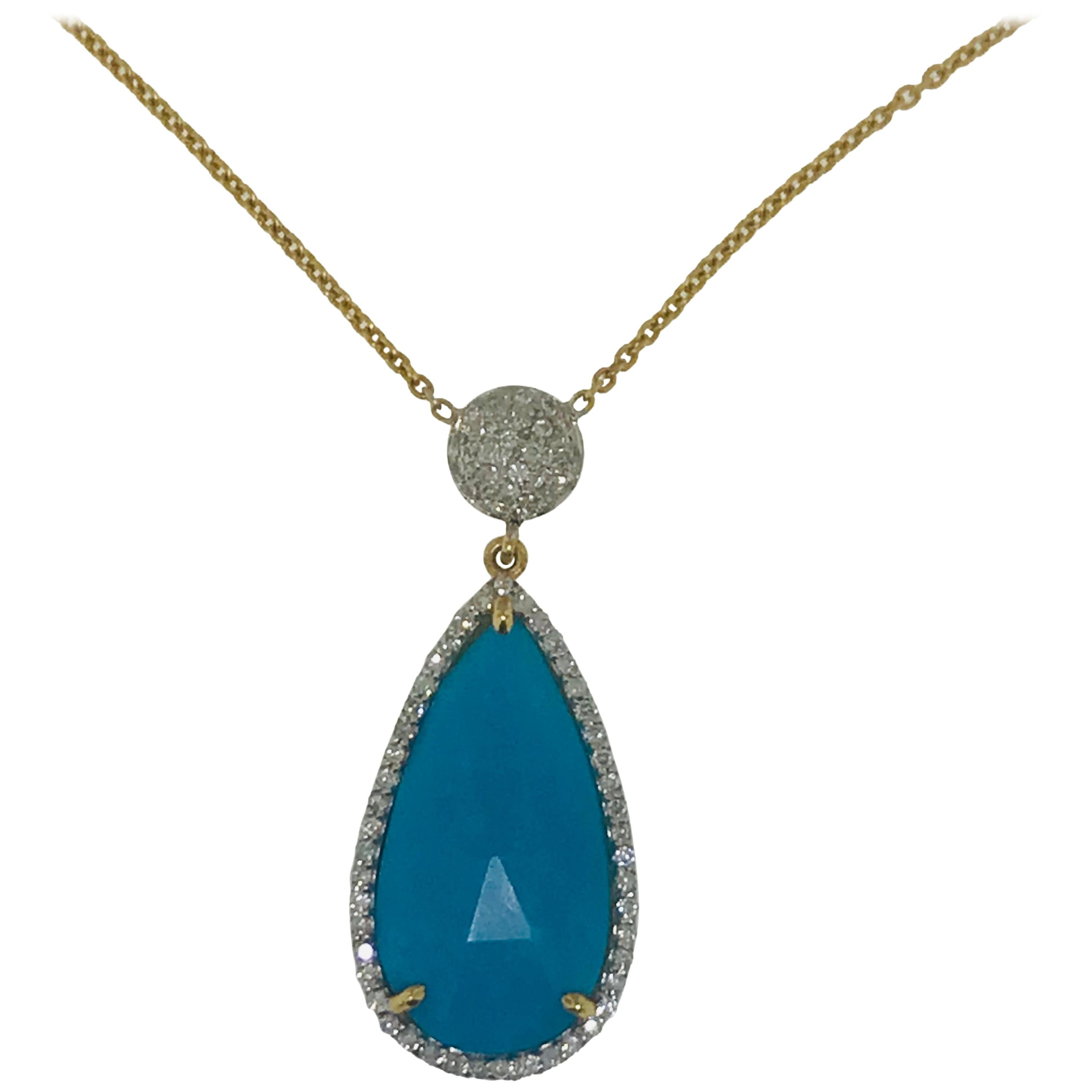 7 Carat Turquoise Necklace with .50 Carat Diamond Necklace in 18 Karat, 7.50 ct