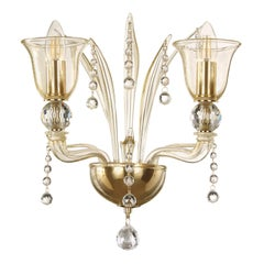 Sconce 2 arms Gold Color with precious Crystals details, Tresor by Multiforme