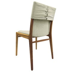 Tress Dining Chair in Linen Fabric and Teak Finish