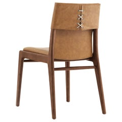 Tress Leather Upholstered Dining Chair in Walnut