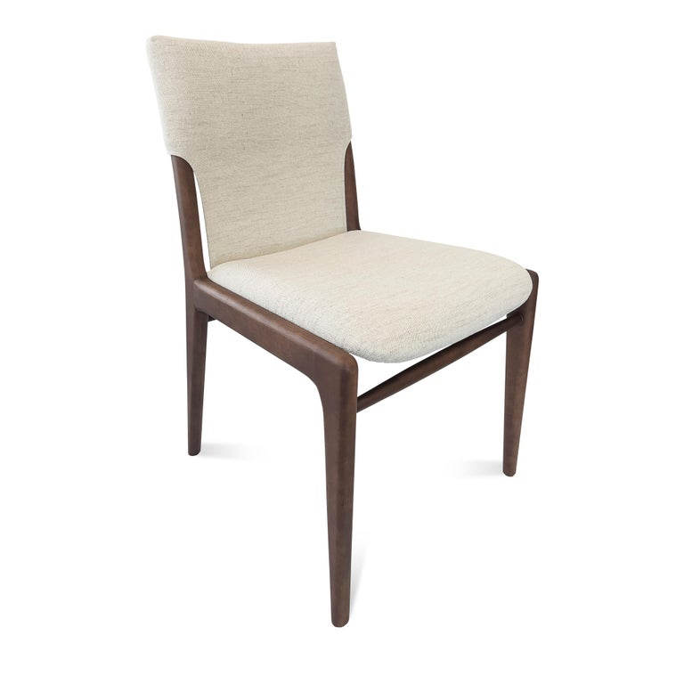 Brazilian Tress Upholstered Dining Chair in Walnut and Light Fabric For Sale