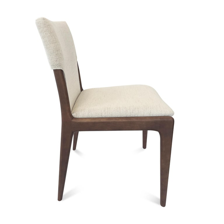 Tress Upholstered Dining Chair in Walnut and Light Fabric In New Condition For Sale In Miami, FL