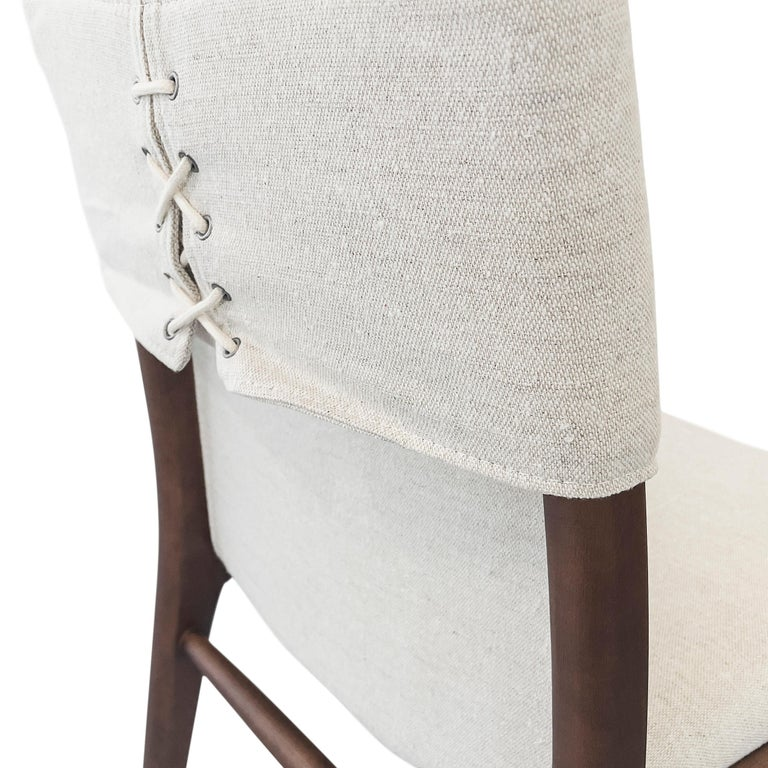 Contemporary Tress Upholstered Dining Chair in Walnut and Light Fabric For Sale