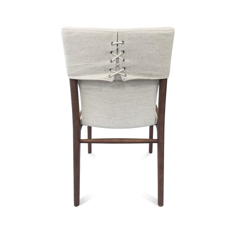 Tress Upholstered Dining Chair in Walnut and Light Fabric For Sale 1