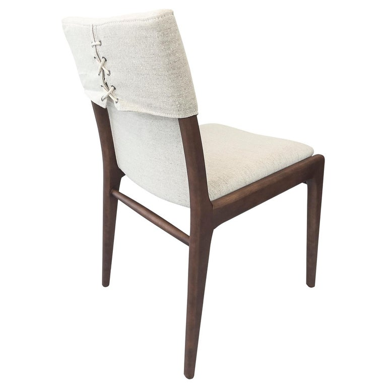 Tress Upholstered Dining Chair in Walnut and Light Fabric For Sale
