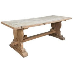 Trestle Dining Table, 19th Century Country French Provincial in Stripped Walnut