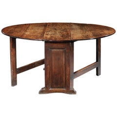 Trestle Gateleg Table, Early 17th Century, English Jacobean, Cedarwood, Panelled